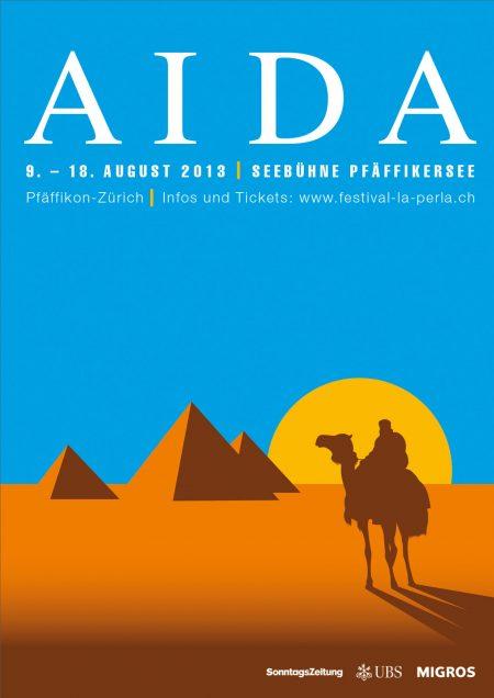 Grafisch rediziertes Plakat für die AIDA-Aufführung am Pfäffikersee
